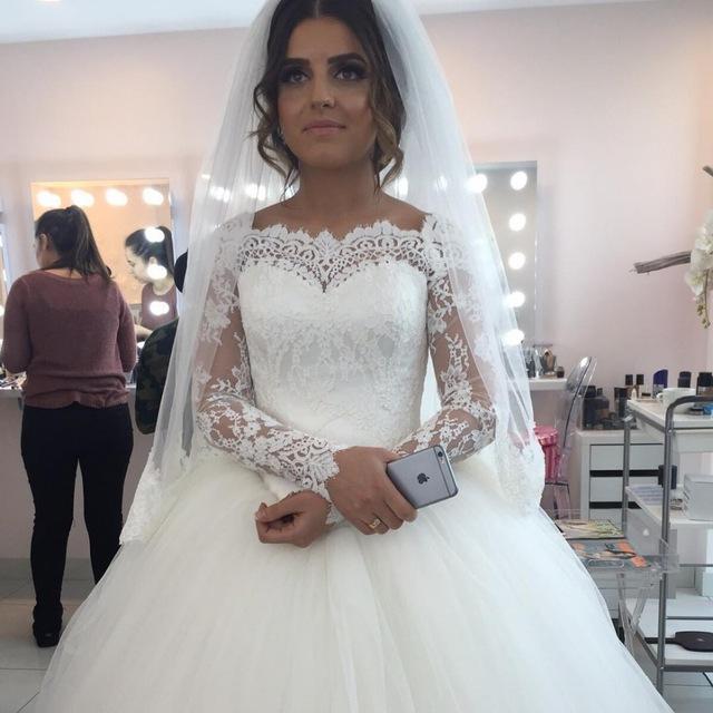 Com Buy Arabic Style Princess Long Sleeve Lace Ball Gown Wedding - Wedding Dresses Princess Style