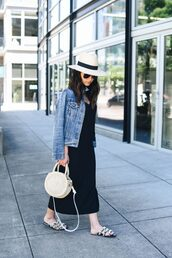 dress,hat,tumblr,maxi dress,black dress,slip dress,jacket,denim jacket,denim,shoes,slide shoes,bag,round bag,white hat,black midi dress,midi dress,embellished,sun hat