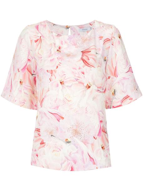 blouse women floral print silk purple pink top
