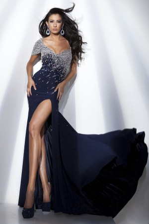 Pretty Royal Blue Chiffon Floor-Length A-Line Dress On Sale - Fadhits - English - p-Dwomendress0273