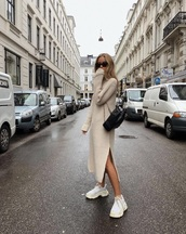 shoes,dress,knit,nude sweater,sneakers,white sneakers,knitted dress,knitwear,midi dress