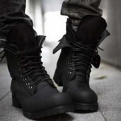 Online shop boots for men mid calf high top lace up boots shoes retro combat boots winter england
