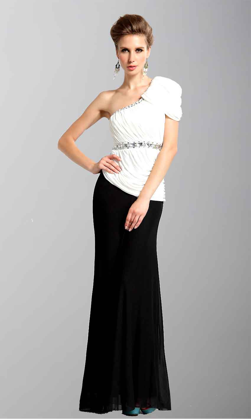 Black And White One Shoulder Straight leg Evening Gowns KSP051 [KSP051] - £103.00 : Cheap Prom Dresses Uk, Bridesmaid Dresses, 2014 Prom & Evening Dresses, Look for cheap elegant prom dresses 2014, cocktail gowns, or dresses for special occasions? kissprom.co.uk offers various bridesmaid dresses, evening dress, free shipping to UK etc.