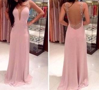 long prom dress pink dress open back plunging neckline sweetheart neckline