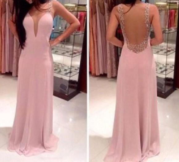 pink dress sweetheart neckline long prom dress backless plunging neckline