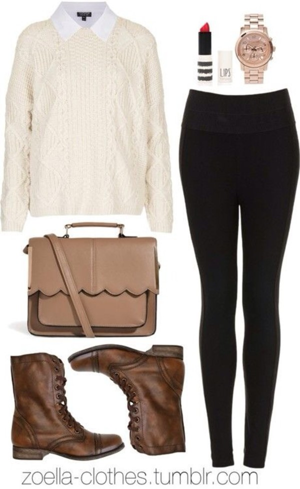 bag zoella blouse brown leather boots