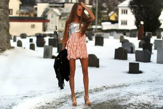 dress sparkling high heels jacket flowy classy sassy fashion
