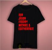t-shirt,ash,freddy krueger,horror character,leatherface,top,mpcteehouse,jason,walking dead shirt,graphic tee,Graphic T-shirts,tumblr girl,tumblr shirt,tumblr clothes