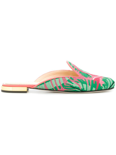 charlotte olympia women flamingo mules leather cotton shoes