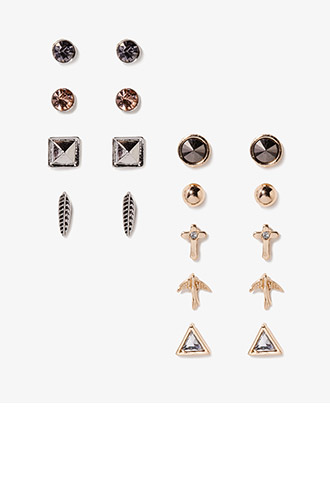 Cross, Bird & Leaf Rhinestone Stud Set | FOREVER21 - 1040233625