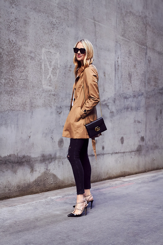 fashionjackson blogger coat top jeans shoes bag jewels sunglasses beige coat gucci bag high heel pumps valentino rockstud