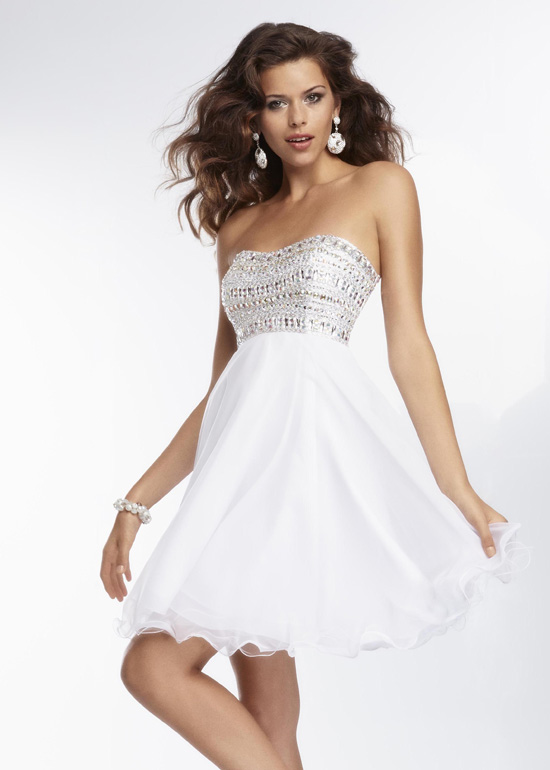 All white cocktail party dresses