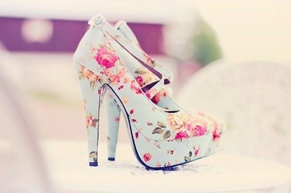 shoes vintage high heels flowers