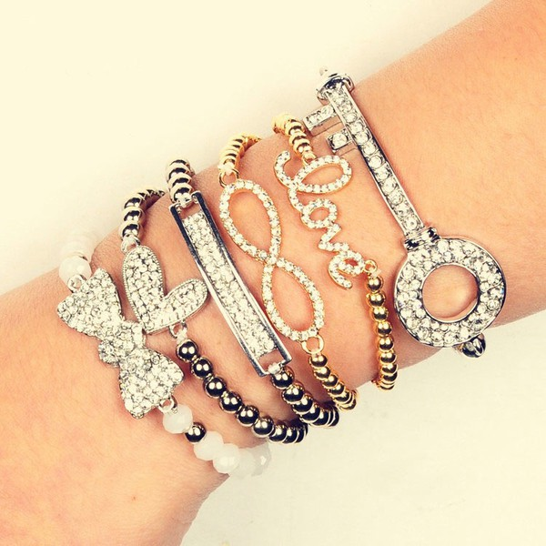 jewels ring bows arm candy jewelry bracelets infinity bff best forever jewelry rose gold