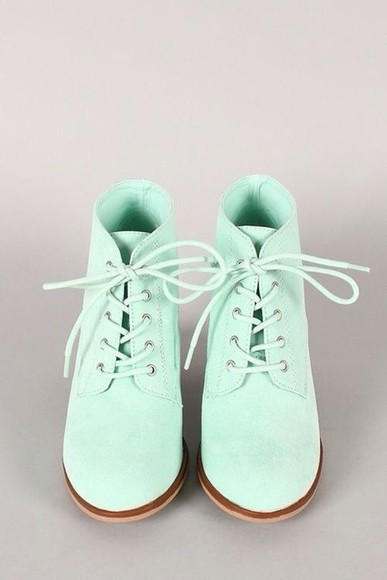 bright spring cute shoes mint booties boots pastel fun