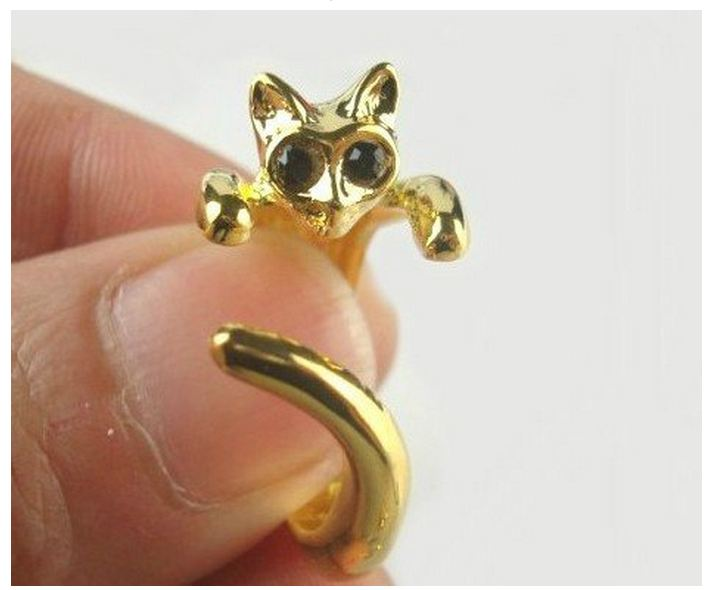 Perfect Cute Gold Cat Ring with Rhinestone Eyes and Resizable | eBay
