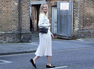 blame it on fashion blogger sweater flats white skirt skirt shoes bag
