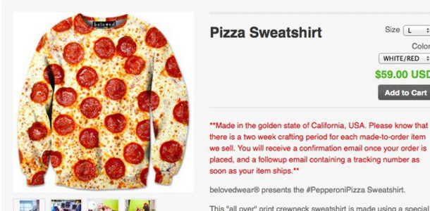 sweater pizza sweatshirt