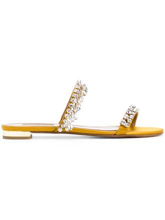 women sandals flat sandals leather silk yellow orange shoes