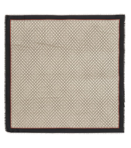 Gucci GG silk-blend scarf in brown