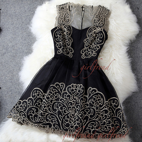 Black hollow out sleeveless embroidery party dress