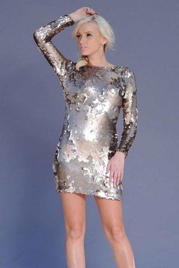 Dress Silver Metallic Sequins Mini Dress Mini Dress