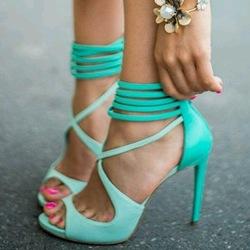 Online shop mint green high heels lace up sandals for women 2014