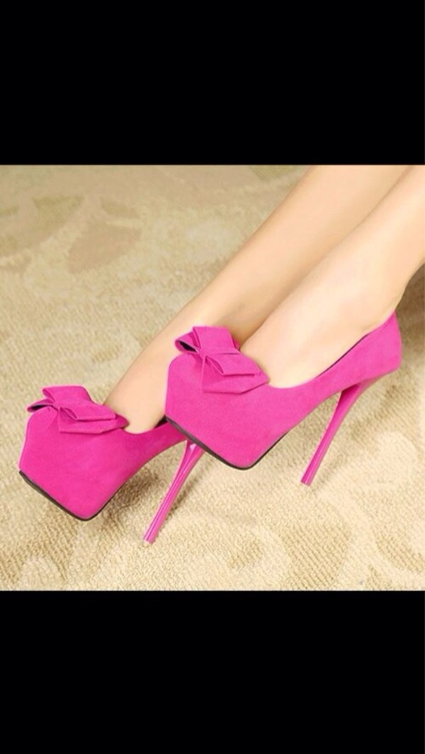 Flirty Women's Peep Toe Hot Pink Pumps with Suede Bow Detail and ...