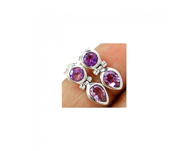 Amazing 925 sterling silver Gemstone Faceted Amethyst Stud
