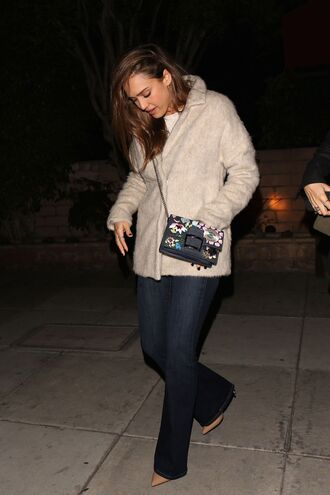 jacket jeans purse jessica alba streetstyle bag
