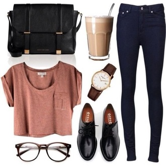 shirt bag jewels jeans sunglasses shoes outfit topshop watch coffee glasses back to school high waisted jeans crop tops denim oxfords mornings crop tee blouse t-shirt black striped crop top black satchel
