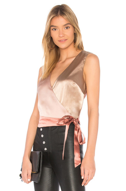 Minkpink top wrap top metallic gold