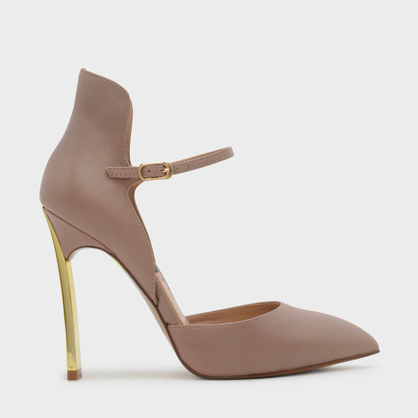 ankle strap heels leather pink shoes