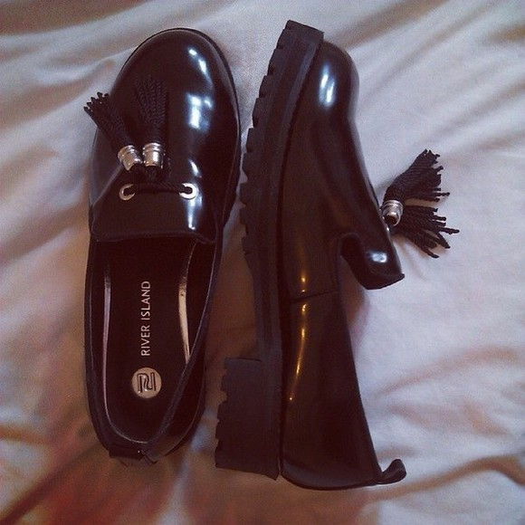 shoes flat black river island
