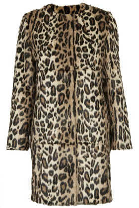 **Faux Fur  Animal Print Coat - Topshop USA