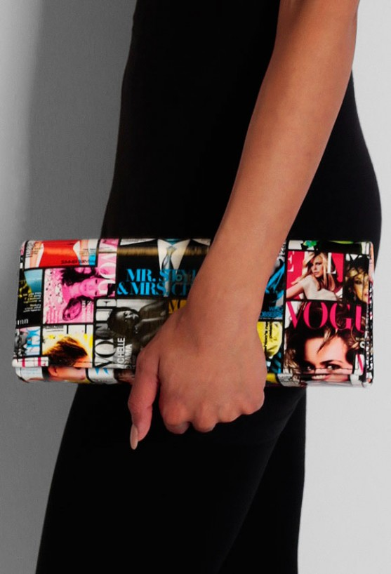 Strike A Pose Multcolour Vogue Print Clutch Bag | Pink Boutique
