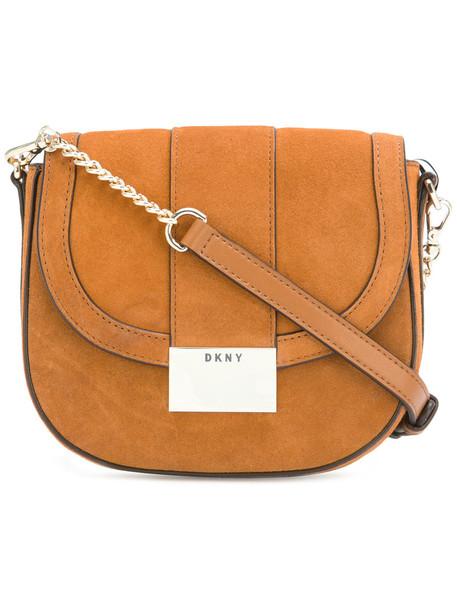 DKNY satchel women suede brown bag
