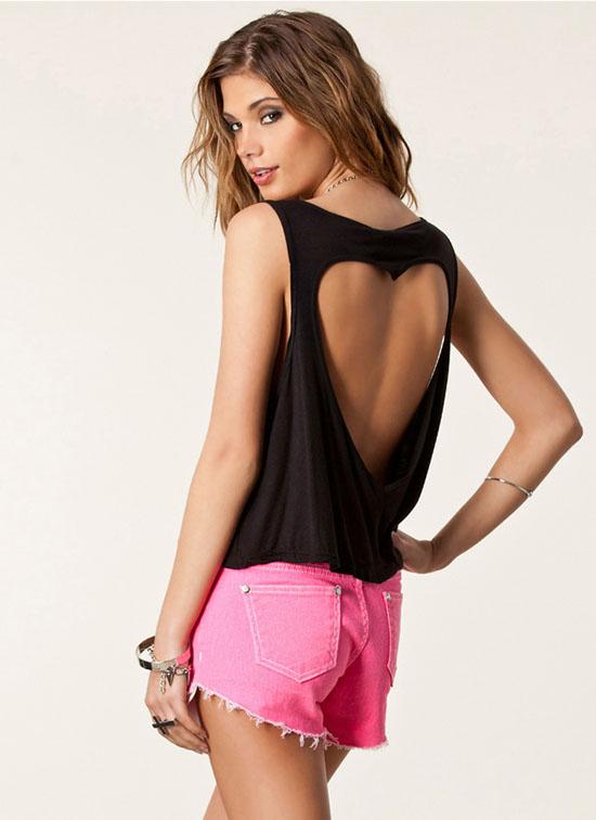Women Sexy Back Heart Shaped Hollow Vest Tops Short Shirt Bare Midriff JC652SA | eBay