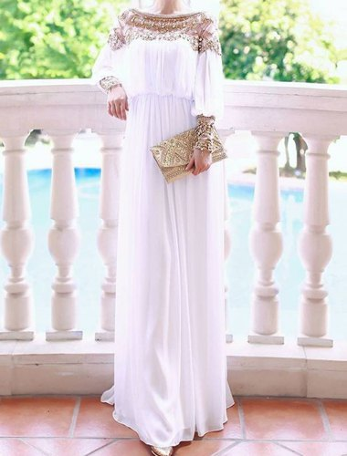 Solid color casual scoop neck beaded long sleeve maxi dress for women (white,m)