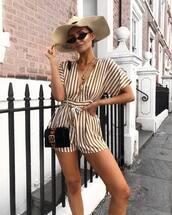 romper,stripes,v neck,mini bag,sunglasses,chain necklace,straw hat