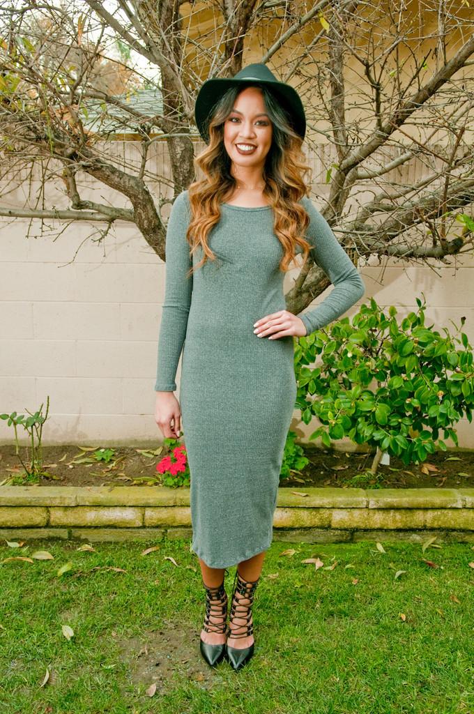 Abby sleeve midi dress – gold soul