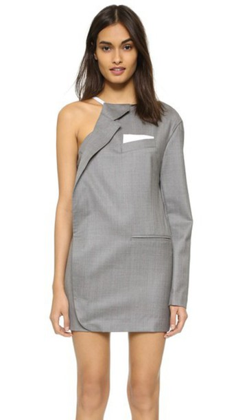 Jacquemus Half Jacket Dress - Grey Striped/White