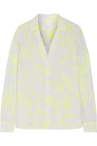 shirt silk yellow bright top