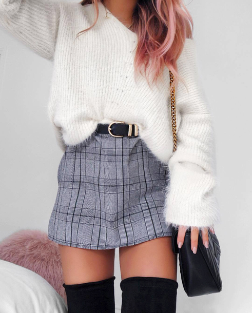 skirt plaid skirt white sweater tumblr mini skirt plaid grey skirt sweater knit knitted sweater belt