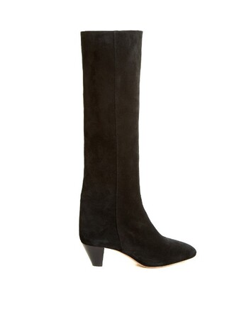 heel knee-high boots high boots suede black shoes