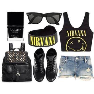 nirvana grunge pastel grunge soft grunge pastel goth black bag shoes shorts alternative punk band