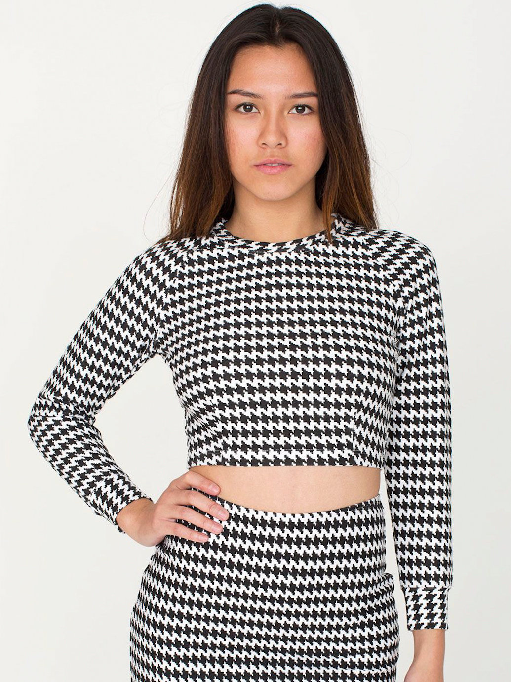 Houndstooth Long Sleeve Crop Raglan Sweater | American Apparel