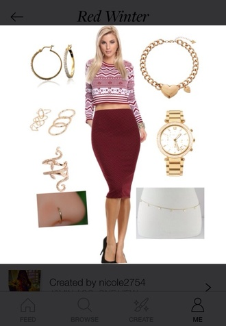 dope trill polyvore cropped sweater style sweater winter sweater high heels black heels red skirt skirt red dress crop tops gold jewels earrings cute sexy sweater sexy dress watch tribal pattern aztec ring nose ring