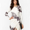 White long sleeve random floral print wrap dress - sheinside.com