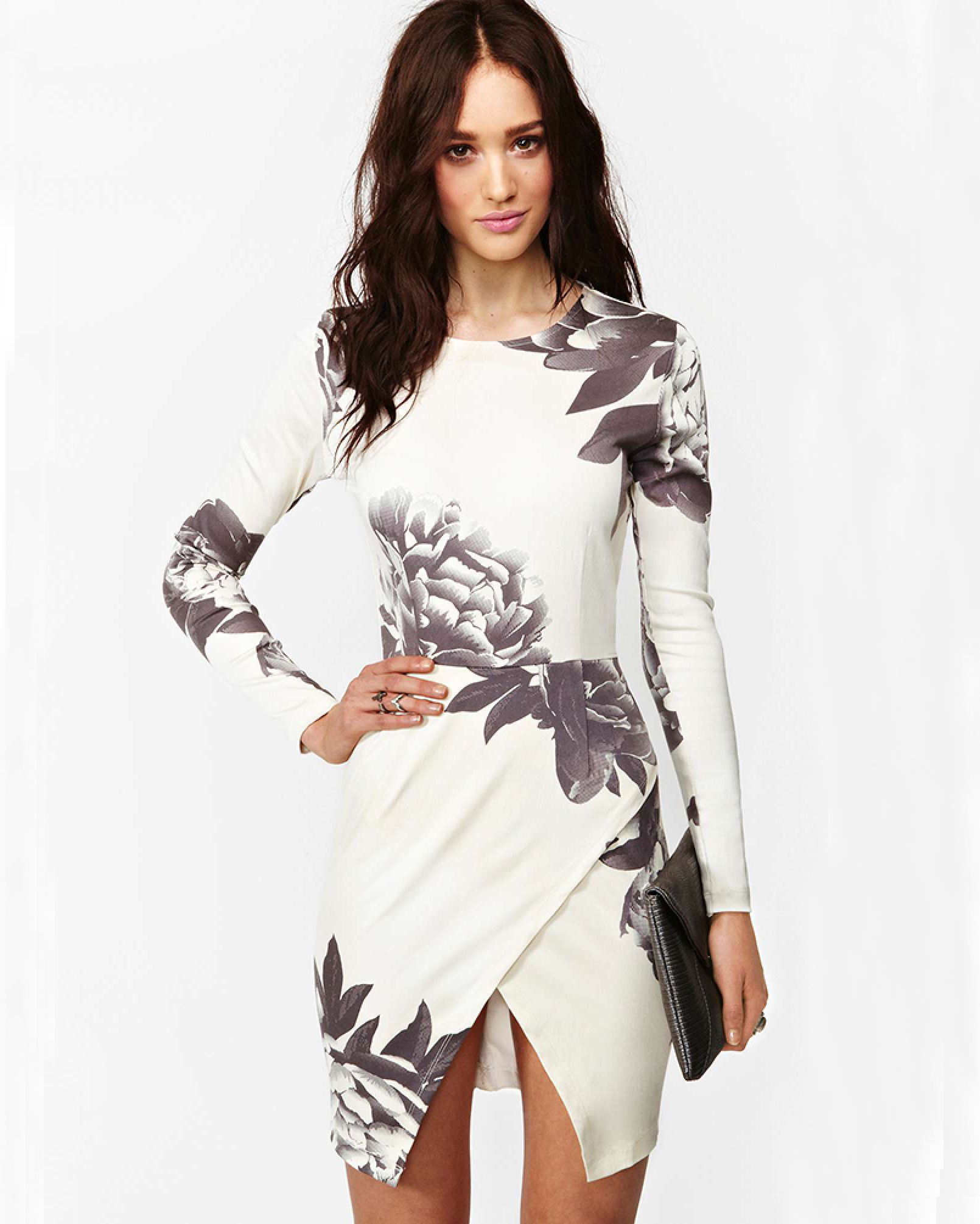 White Long Sleeve Random Floral Print Wrap Dress - Sheinside.com f20fa5a6b
